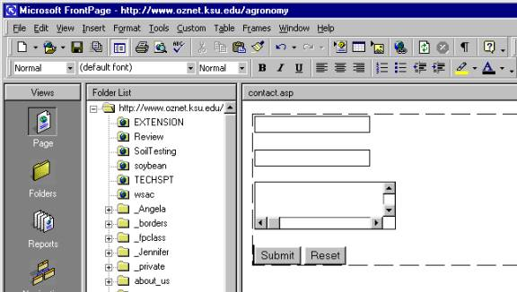 Creating A Form And Access Database Using Microsoft FrontPage