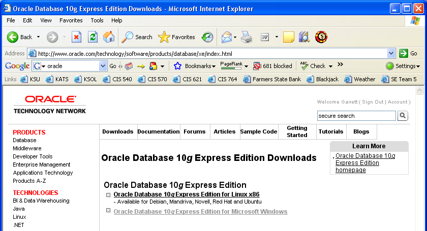 GRATUITEMENT DATABASE EXPRESS EDITION ORACLE TÉLÉCHARGER 10G